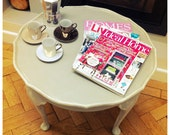 SOLD Shabby chic painted wood 'pie crust' style coffee table