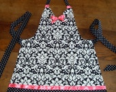 Black, White, and Pink Apron - Cute Polka Dot and Damask Print Apron