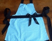 Blue and White Polka Dot Apron - Cute Apron with Black frilly trim and bow (RESERVED FOR KAREN)