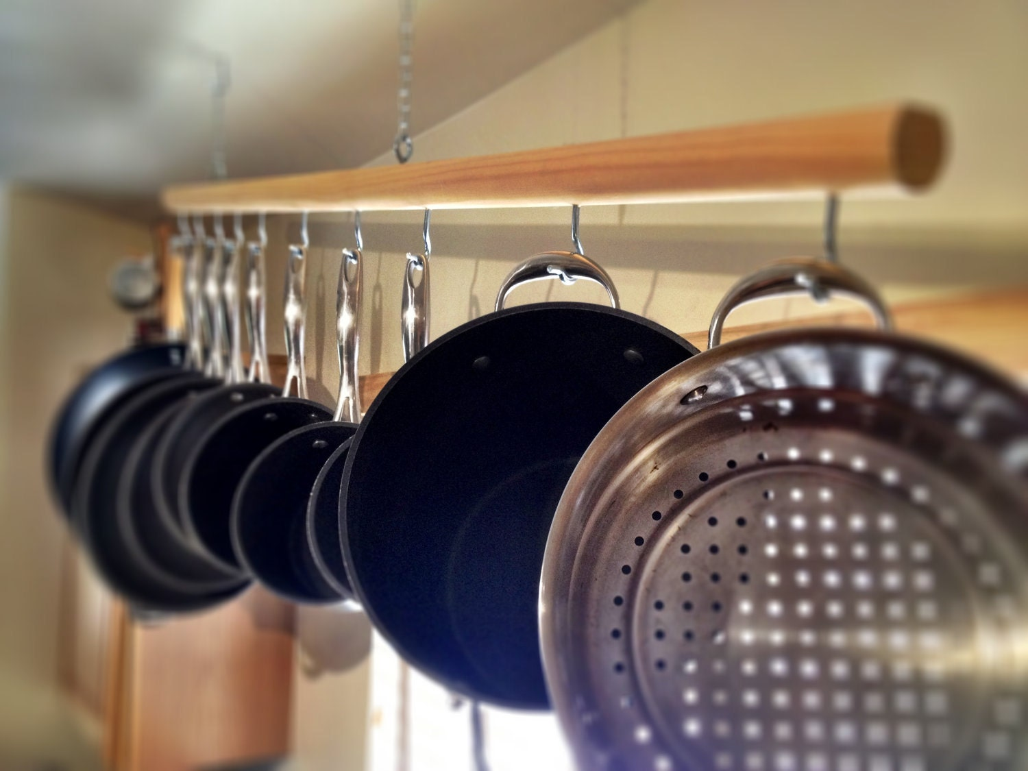 Chic Hanging Wooden Pot Rack For 10 Piece Pot And Pan by ...