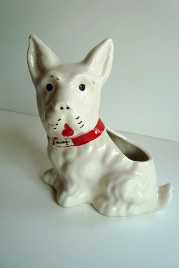 Scottie dog ceramic vintage planter in white and red