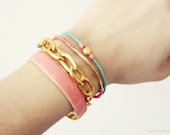 gold coin - beaded friendship bracelet - mint, coral and gold - gift for her under 20 - summer jewelry