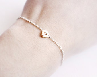 tiny skull bracelet - gold skull on WHITE and golden chain - gift for her