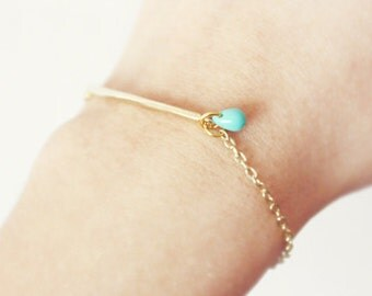gold bar minimalist bracelet - with a pop of turquoise (B012) / gift for her under 20