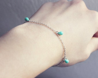 tiny mint drops - minimalist bracelet / gift for her