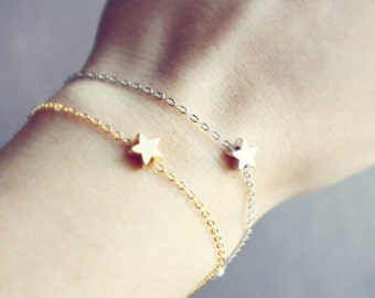 dainty star - mixed metals bracelet duo - gift for her under 25 usd