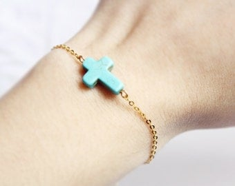 sideways cross bracelet - pop of color and gold chain / gift for her under 15  / spring summer jewelry