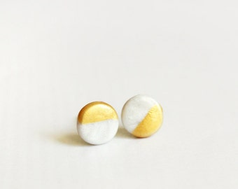 gold dipped disc - dainty modern studs / geometric minimalist jewelry / gift for her