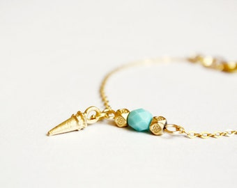 spike bracelet - mint and gold minimal modern jewelry / gift for her