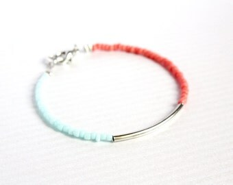 bar bracelet - color block friendship bracelet - layering arm candy jewelry / gift for her - summer jewelry