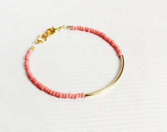 coral gold bar bracelet - minimalist jewelry - friendship bracelet / gift for her under 20usd