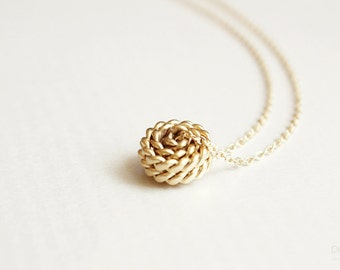 knot necklace - dainty gold tone jewelry / gift for her under 20
