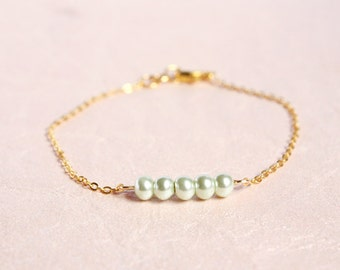 dainty pearl bar bracelet - delicate everyday jewelry / gift for her under 15 usd