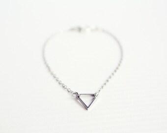 dainty triangle silver bracelet - minimalist jewelry / gift for her