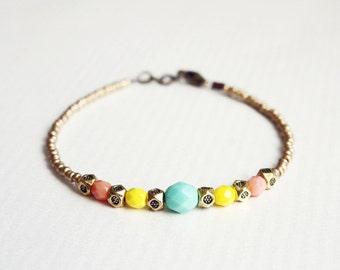 sun goddess - dainty beaded friendship bracelet - gift for her under 20usd