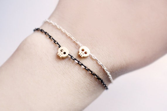tiny skull bracelet - matt 14kt gold plated skull on BLACK chain / gift for her