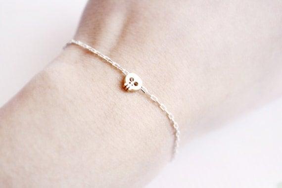 tiny skull bracelet - gold skull on WHITE and golden chain - gift for her