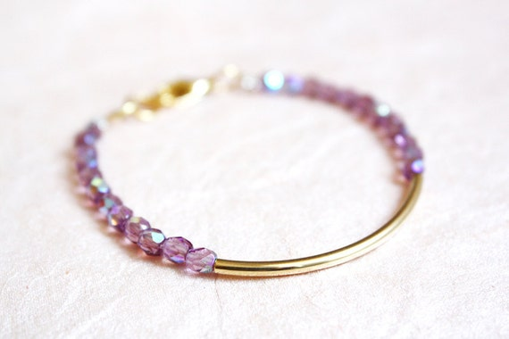 gold bar bracelet - minimalist jewelry - mauve