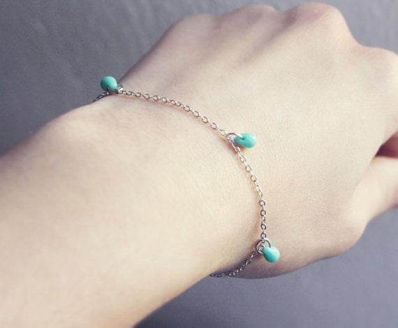 tiny mint drops - minimalist bracelet / gift for her