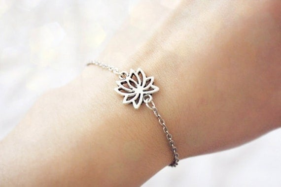 lotus flower - delicate everyday bracelet / gift for her under 15 usd