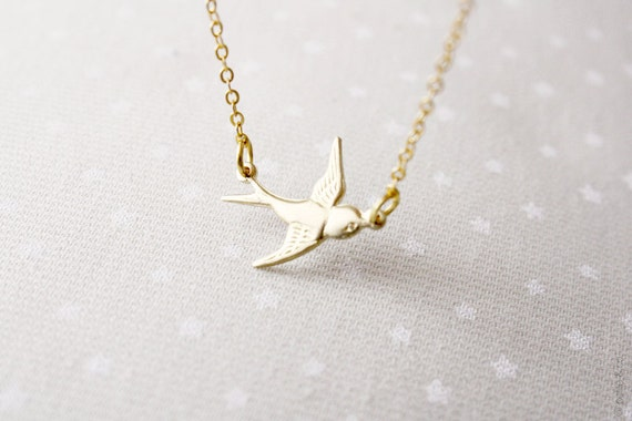 dainty bird bracelet - gold tone everyday jewelry -  gift for her under 15 usd