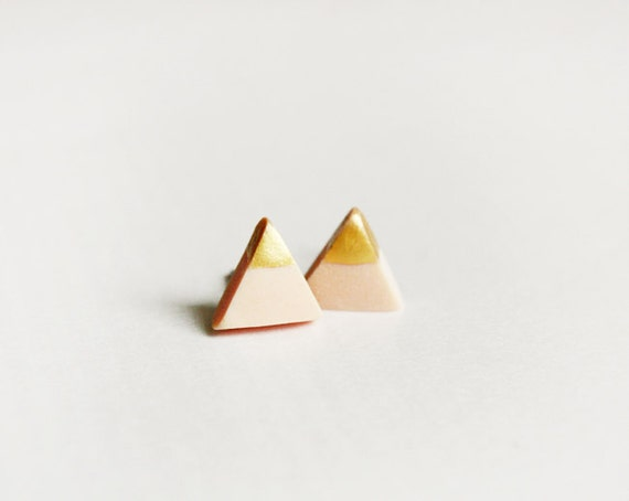 gold dipped tiny triangle studs - triangle jewelry - nude / / gift for her