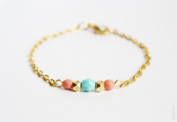 mint, coral and gold beaded bracelet - delicate minimal jewelry - gift for her under 15