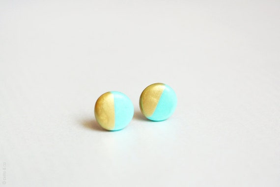gold dipped mint green disc - geometric studs / spring summer jewelry