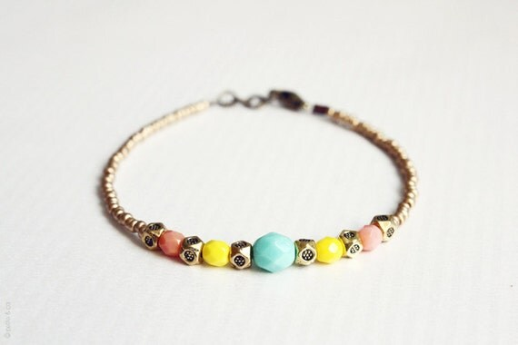 sun goddess - dainty beaded friendship bracelet - gift for her under 20usd