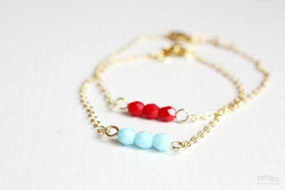 beaded bar bracelet - delicate everyday jewelry - gift for her under 20, bridesmaids gifts