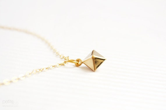 pyramid - geometric dainty bracelet - minimalist gold jewelry Gift for her