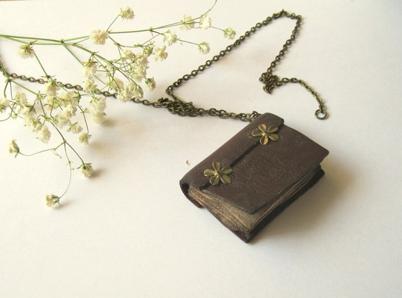 Old Look Leather Book Necklace