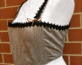 Silver/Grey Suede-Like Overbust Elizabethan-Style Corset
