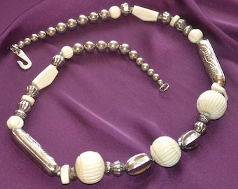 Vintage Silver and Bone Beaded Tribal Necklace