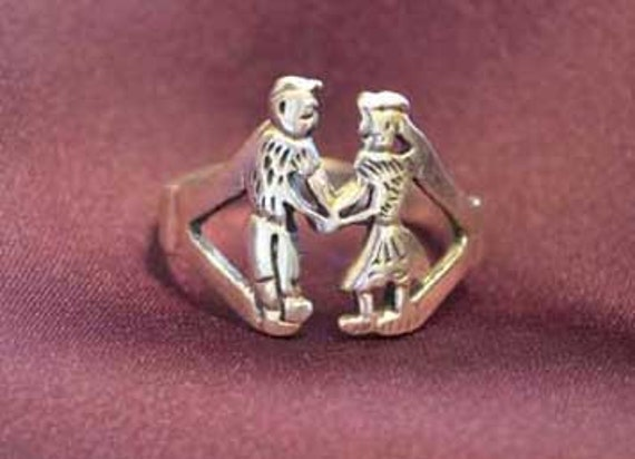 Vintage Folk Art Sterling Silver Promise, anniversary ring, Boy and Girl sz 6 1/2