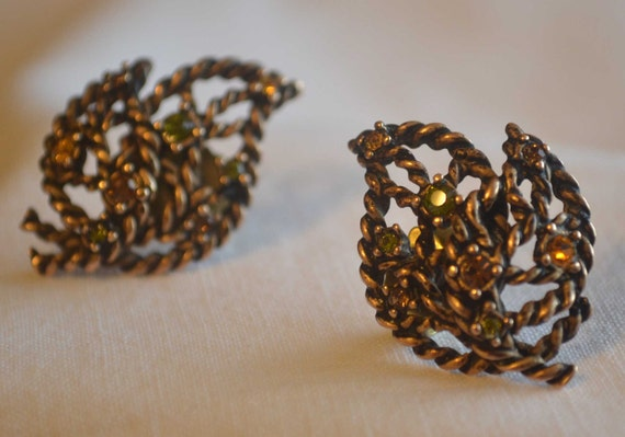 Unique Vintage Braided Copper Tone Leaf Shaped Rhinestone Earrings