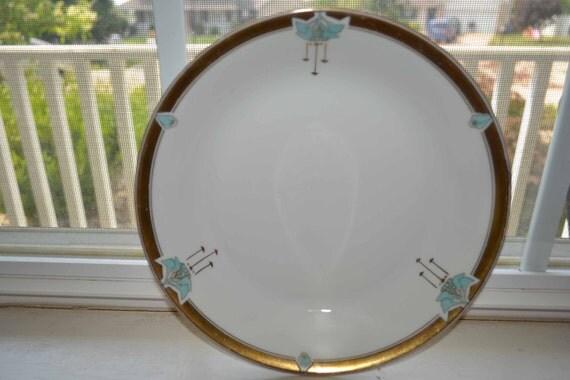 Vintage, Antique Pickard Gold and Aqua Blue Art Nouveau China Bowl