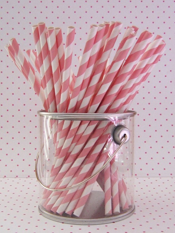 25 Light Pink and White Striped Paper Straws