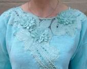 Light Teal Blue 80's Sweater