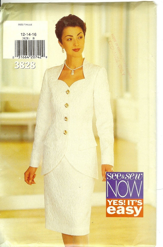 Jacket and Skirt Ladies Size 12 14 16 See & Sew 3828 Sewing Pattern Easy 1990s  Uncut