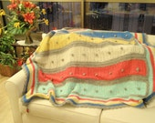 The Pom Pom Quilt - Hand Knitted Blanket / Afghan