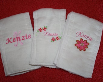 Custom Personalized Girl Burp Cloths
