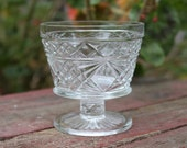 Vintage Clear Glass Diamond Pattern Stemmed Dessert Cups Set of 4