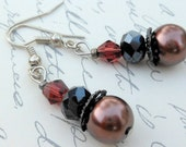 Dream Collection - Gorgeous Deep Purple and Black Beaded Earrings
