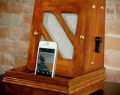 ipod iphone charging station with speakers from vintage radio speaker cabinet