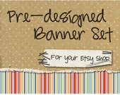 Etsy Shop Banner - Layered Dots and Stripes - banners, profile picture, avatar, reserved & special order