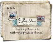 Etsy Shop Banner - Turquoise Layers set w/Product Photos - banners, profile picture, avatar, reserved & special order