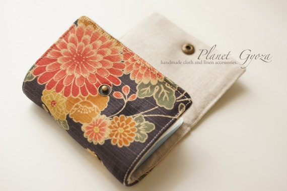 Credit / Business card holder - tri fold, snap button, red floral pattern fabric, Linen / Cotton, 20 plastic sheets