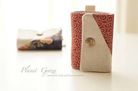 Credit / Business card holder - tri fold, snap button, white cloud in red fabric, Linen / Cotton, 20 plastic sheets