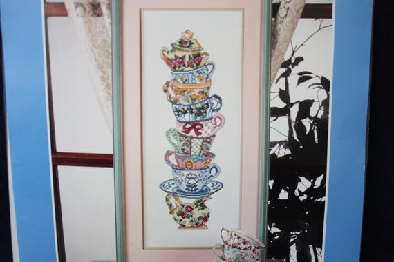 """Counted Cross Stitch Kit New in Package """"Teacup Stack"""""""